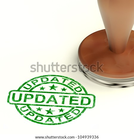 Updated Stamp Shows Improvement Upgrading And Updating - stock photo