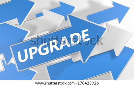 Upgrade 3d render concept with blue and white arrows flying upwards over a white background. - stock photo