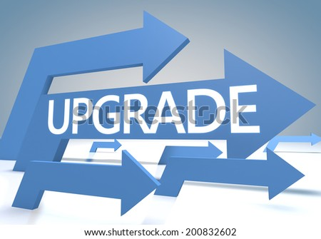 Upgrade 3d render concept with blue arrows on a bluegrey background. - stock photo