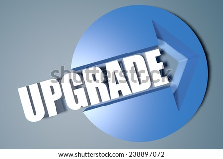 Upgrade - 3d text render illustration concept with a arrow in a circle on blue-grey background - stock photo