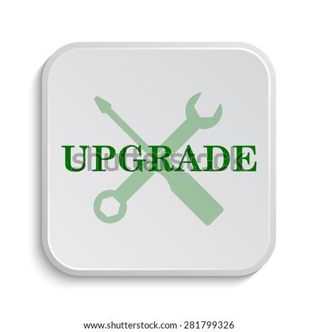 Upgrade icon. Internet button on white background.  - stock photo