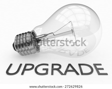 Upgrade - lightbulb on white background with text under it. 3d render illustration. - stock photo