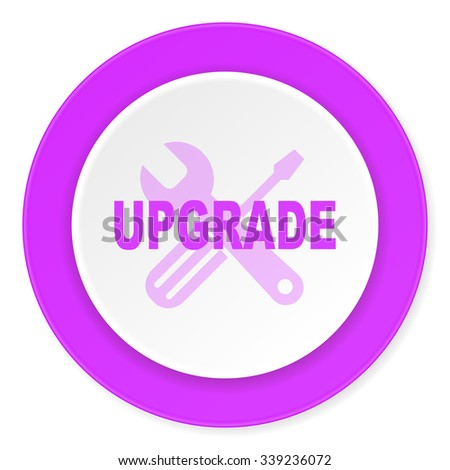 upgrade violet pink circle 3d modern flat design icon on white background  - stock photo