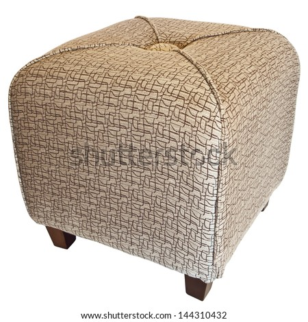 Upholstered Cube Ottoman Footrest with Wood Legs