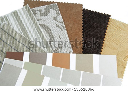 upholstery tapestry color selection - stock photo