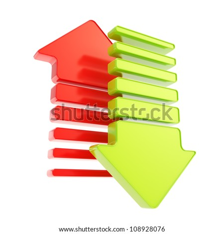 Upload and download transfer composition made of two red and green glossy arrows isolated on white - stock photo