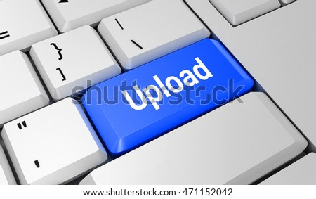 Upload button. Keyboard. Blue key. Blue button. 3D rendering