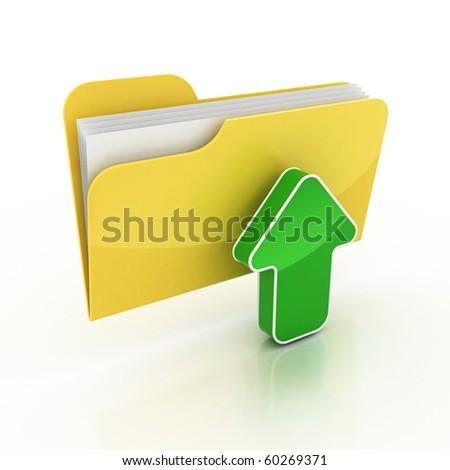 upload folder icon 3d illustration - stock photo