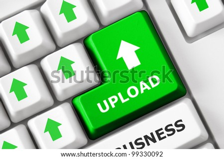 Upload Text Arrow Symbols On Modern Stock Photo Royalty Free