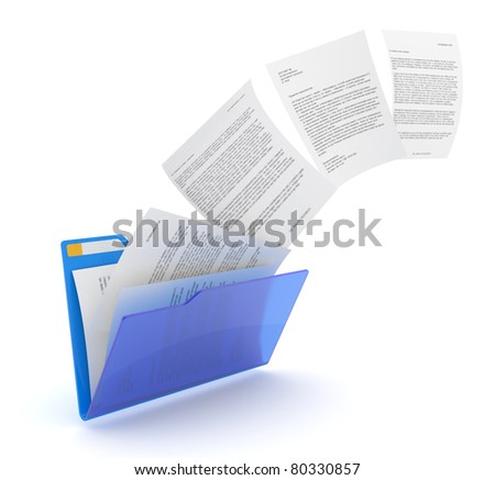Uploading documents from blue folder. 3d illustration. - stock photo