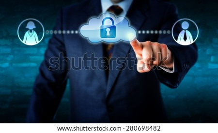 Upper body of a manager in business suit touching a locked cloud icon linked to a female and a male white collar worker on each side. Metaphor for smart computing and teamwork with gender theme. - stock photo