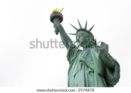 Upper body of the Statue of Liberty against a white background