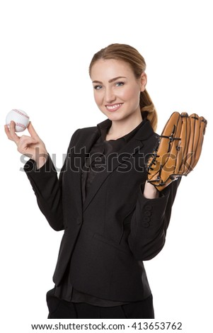 Upper body studio shot of a happy, pretty business model holding a baseball and a catchers glove.  Isolated on white - stock photo