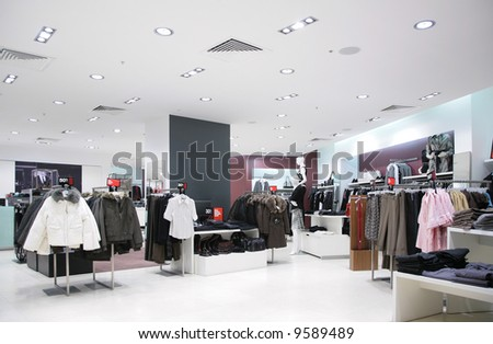 upper clothes in shop - stock photo