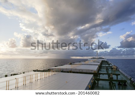 Upper deck of the cargo ship - stock photo