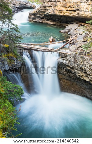 Upper Falls Johnston Canyon trail at the rocky mountains canada - stock photo