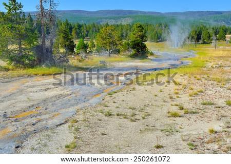 Upper Geyser basin of Yellowstone National Park, Wyoming - stock photo
