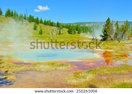 Upper Geyser basin valley of Yellowstone National Park, Wyoming - stock photo