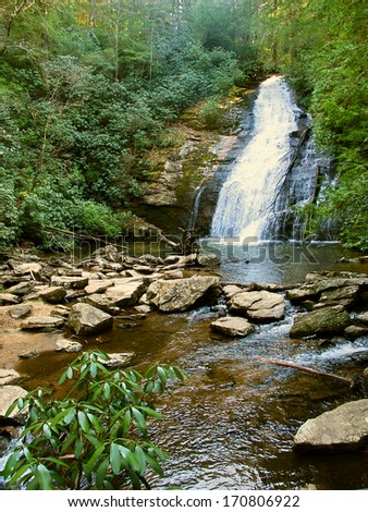 Upper Helton Creek Falls in the Chattahoochee National Forest of Georgia - stock photo