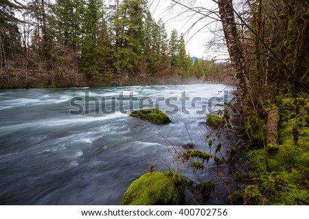 Upper McKenzie River in the Willamette National Forest of Oregon, a historicly famed fly fishing travel destination. - stock photo