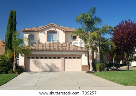 Upper middle class house in California - stock photo