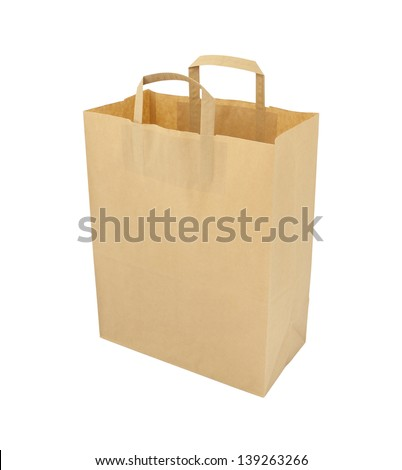 Upper paper brown bag on white background.