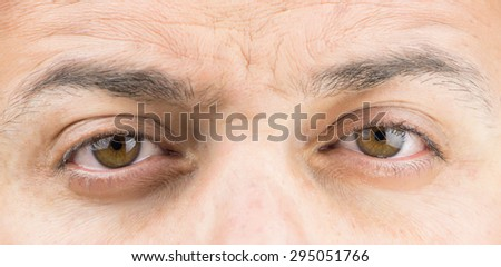 Upper part of males face closeup on eyes - stock photo