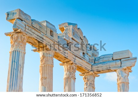 upper part of the Temple of Apollo in Side, Turkey - stock photo