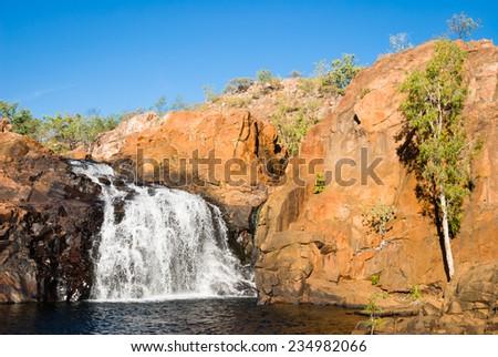 Upper pool and falls at Edith Falls (Leliyn), Nitmiluk National Park, Northern Territory, Australia - stock photo