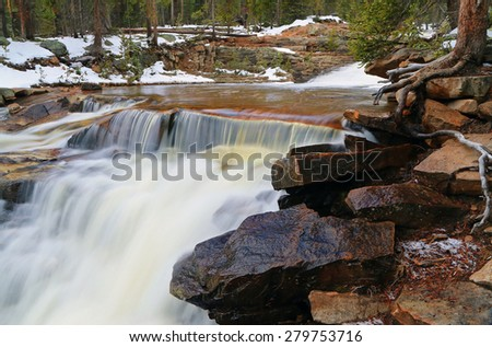 Upper Provo River Falls in the Uinta Mountains, Utah, USA. - stock photo