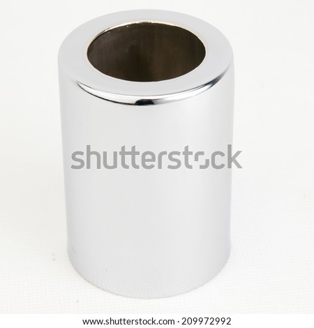 Upper Shock Spring Cover Set on white background,Closeup of a carbon-coated and damaged motorcycle piston isolated on white background,   - stock photo