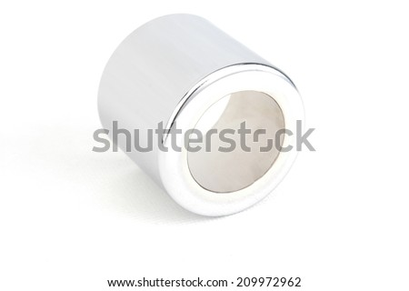 Upper Shock Spring Cover Set on white background ,NUT Motorcycles,real used motor steel gear transmission parts isolated on white background - stock photo