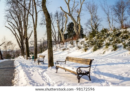 Upper Town or Gradec and the Strossmayer promenade covered with snow. Zagreb capitol of Croatia. - stock photo