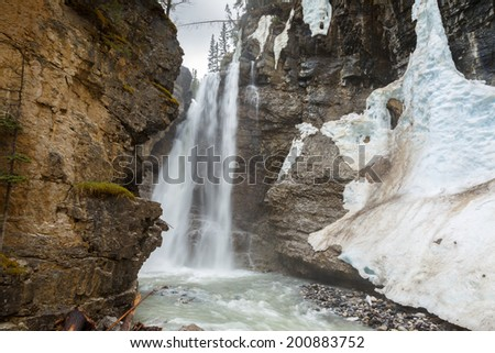 Upper waterfall at Johnston Canyon Canada - stock photo