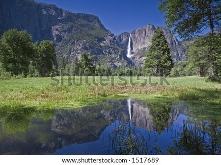 Upper Yosemite Falls Reflection - stock photo