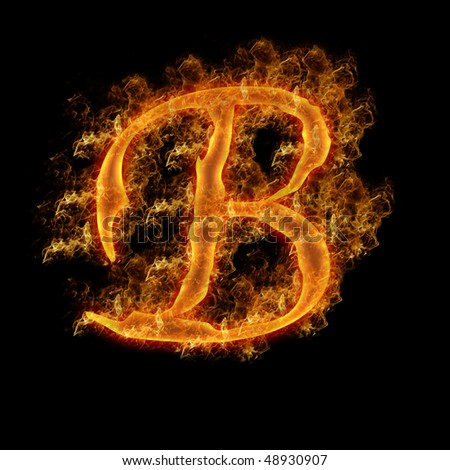 Uppercase Letter B Engulfed in Flames
