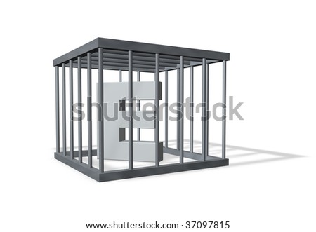 uppercase letter e in a cage on white background - 3d illustration - stock photo
