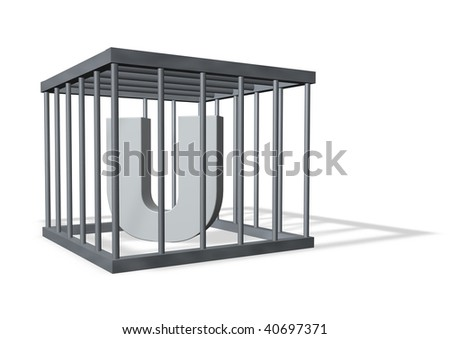 uppercase letter U in a cage on white background - 3d illustration - stock photo