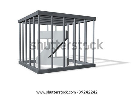 uppercase letter Z in a cage on white background - 3d illustration - stock photo