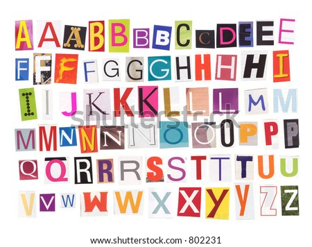 Uppercase magazine cutouts isolated to make your own words- see also my lowercase letters
