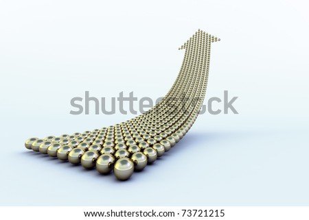 Uppointing arrow formed of hundreds of golden, reflective, balls over a light blue surface with shadows. Conceptual for an upwards trend. - stock photo