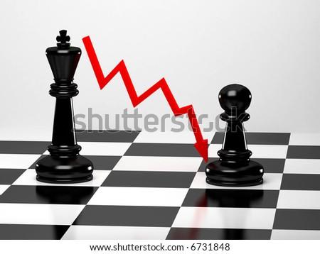 Upright black chess king - stock photo