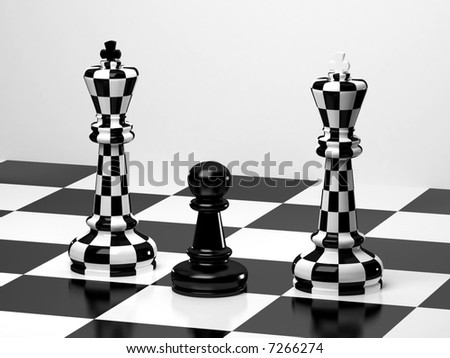 Upright black chess king with white king tipped over