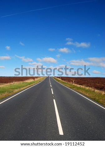 Upright view of road through Yorkshire Moors