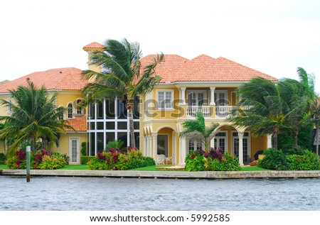 Upscale waterfront home in Florida - stock photo