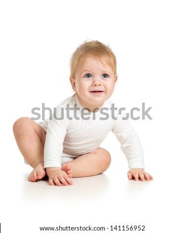 upset baby boy - stock photo