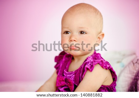 Upset baby girl - stock photo