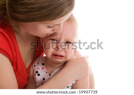 upset baby isolated on the white background - stock photo