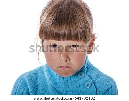 Upset cranky girl standing crossed hands isolated on white background
