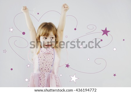 Upset girl, with curly blond hair, wearing on pink dress, red festal hat and fairy wings on her back, posing with silver magic stick, on gray background with white and purple stars, in studio - stock photo